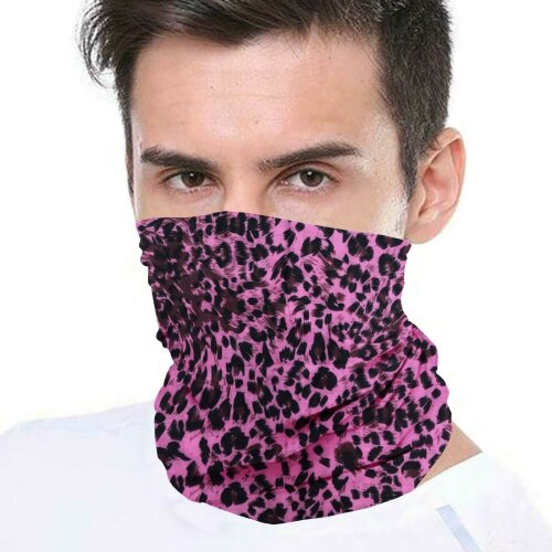 (Pink Leopard) Bandana Face Covering Mask Biker Tube Snood Scarf Neck Cover
