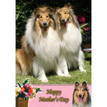 """Rough Collie Mother's Day Greeting Card 8""""x5.5"""""""