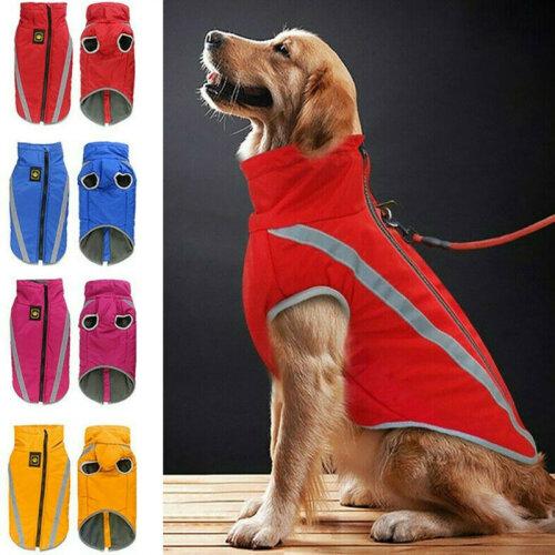 Pet Dog Waterproof Padded Jacket Vest Coat Reflective Waistcoat Raincoat