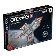 Geomag 810 Special Edition Magnetic Construction NASA Rocket, 84 Pieces, White/Grey/Red