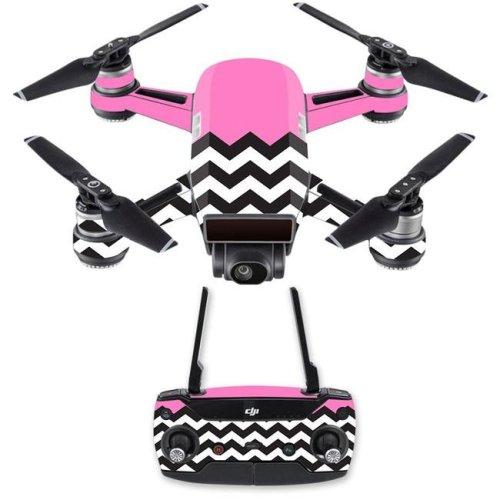 MightySkins DJSPCMB-Pink Chevron Skin Decal for DJI Spark Mini Drone Combo Sticker - Pink Chevron