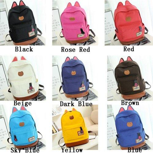 Girl Canvas Backpack Cat Ear Rucksack Travel Bag