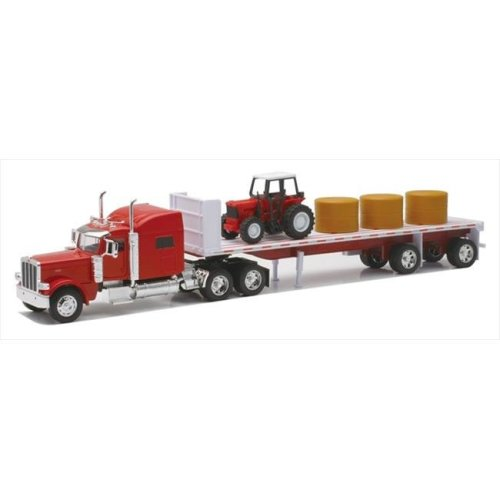 New Ray 10293A Peterbilt 389 Flatbed with Hay and Farm Tractor Long Hauler Toy Truck, Pack of 6