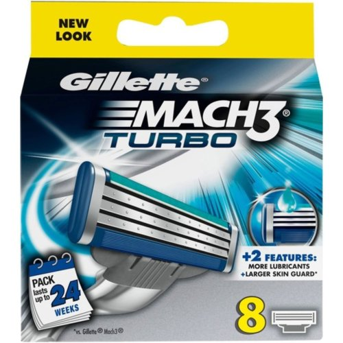Gillette Mach3 Turbo Men's Replacement Razor Shaving Blades - 8 Pack of Refills