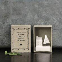 East Of India Matchbox Porcelain House Ornament, Christmas Gift, Porcelain Festive Keepsake,  Christmas Gift, Porcelain Gift, Home Gift