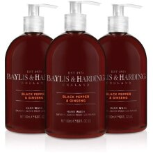 Baylis & Harding Black Pepper and Ginseng Hand Wash for Men 500 ml Pack of 3 (Packaging May Vary)