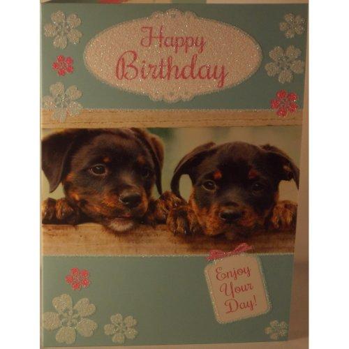 Happy Birthday card puppies 19cm x 13.25cm