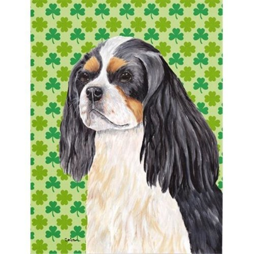 15 x 15 In. Cavalier Spaniel St. Patricks Day Shamrock Portrait Flag, Garden Size
