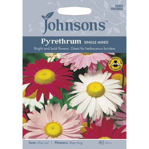 Johnsons Seeds - Pictorial Pack - Flower - Pyrethrum Single Mixed - 125 Seeds
