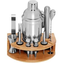 12-Piece Cocktail Shaker Set Bartender Kit,Bar Set with Bamboo Stand