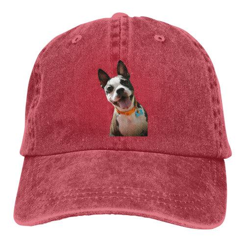 (Red) Hi Boston Terrier Denim Baseball Caps