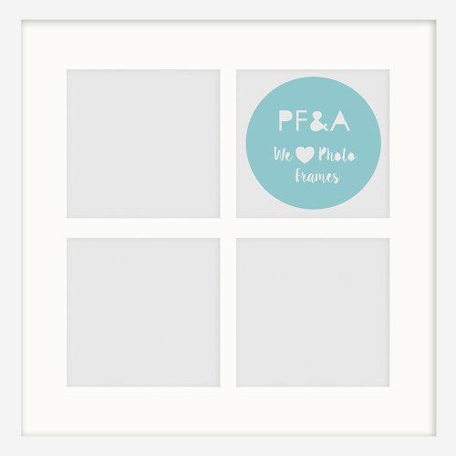 "12x12""/4 4x4"" Multi Oxford White Instagram Photo Frame with Soft Cream Mount - Glass Window"
