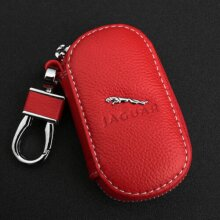 Red Cowhide leather Car Key Keychain Case Bag Fit For Jaguar Auto