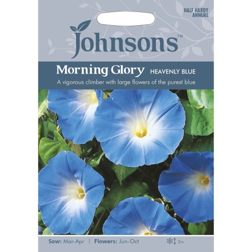 Johnsons Seeds - Pictorial Pack - Flower - Morning Glory Heavenly Blue - 45 Seeds
