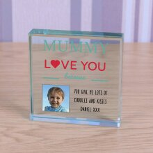 Mother's Day Personalised Glass Photo Block Token Decorative Mummy Gift