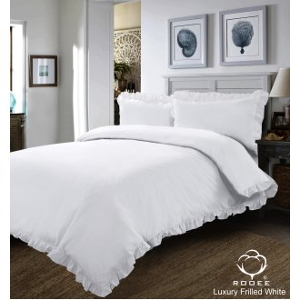 WHITE FRILLED DUVET SET QUILT COVER PILLOW CASE