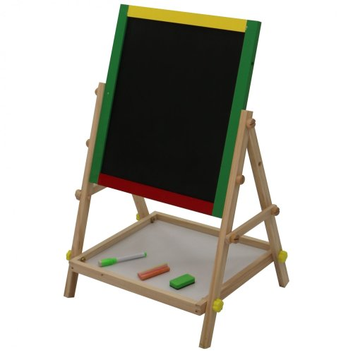 Oypla Adjustable Children Kids 2-in-1 Wooden Easel Black White Board