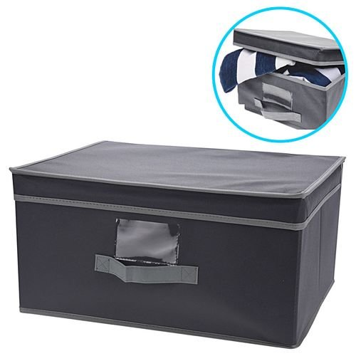 (2) Lidded Grey Fabric Drawer Storage Boxes
