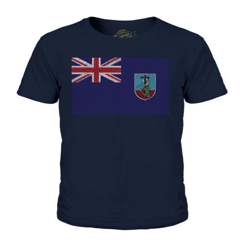 (Dark Navy, 5-6 Years) Candymix - Montserrat Scribble Flag - Unisex Kid's T-Shirt
