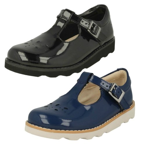 Girls Clarks Classic T-Bar Shoes Crown Wish - F Fit