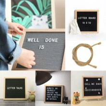 Convenient Felt Letter Board 10x10 Oak Frame 340 White Characters Sign