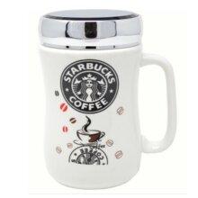 SET OF 2 STARBUCKS TRAVEL MUG CERAMIC COFFEE TEA CUP LID WORK HOT TEA