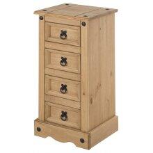 Corona Narrow 4 Drawer Bedside Table Solid Pine Bedroom Furniture