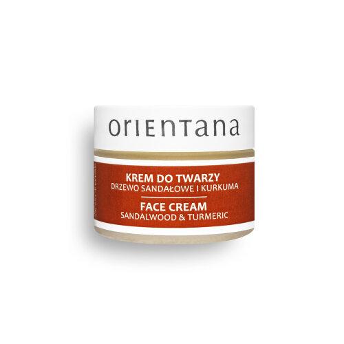 Orientana 100% Vegan Natural FACE CREAM with  SANDALWOOD & TURMERIC - Ayurvedic formula, moisturises, regenerates, for every skin type,  50 g