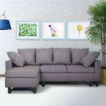 3 Seater Corner Sofa Storage Shaped Modern Luxury Design in Grey