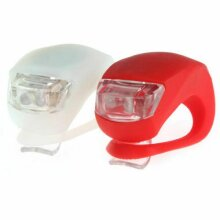 2 LED SILICONE MOUNTAIN BIKE BICYCLE FRONT REAR LIGHTS SET