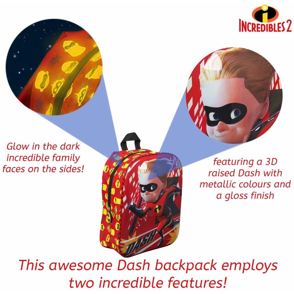 Incredibles 2 Dash Backpack Glow in The Dark School Bag Boys Toddlers Ruck Sack