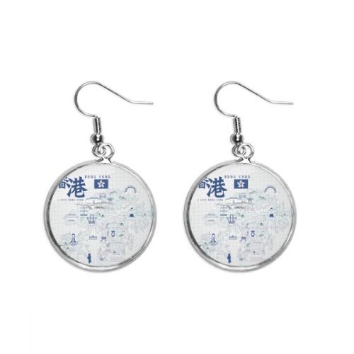 Hong Kong Famous Points China Ear Dangle Silver Drop Earring Jewelry Woman