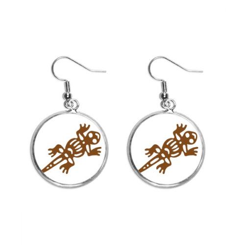 Mexico Totems Gecko Lizard Ancient Civilization Ear Dangle Silver Drop Earring Jewelry Woman