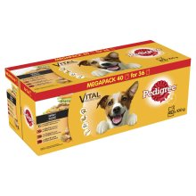 Pedigree Dog Pouches Mixed Selection In Gravy 40 For 36x100g