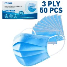 (50 Pack) 3-Ply Surgical Face Masks Non Medical