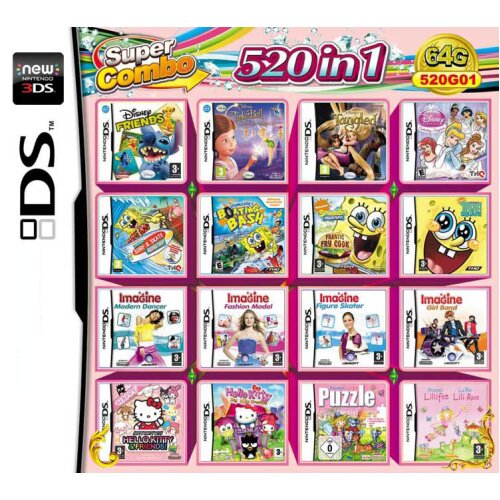 520 in 1 Video Games Cartridge Multicart for DS NDS NDSL NDSi 2DS 3DS