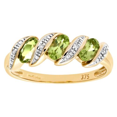 (H) Naava 9ct Yellow Gold Diamond and Peridot Eternity Ladies Ring
