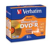 VERBATIM 96320 Disk  DVD-R  4.7GB  8X  Ultralife ArchivalGrade  Gold Shiny  5pk  Jewel