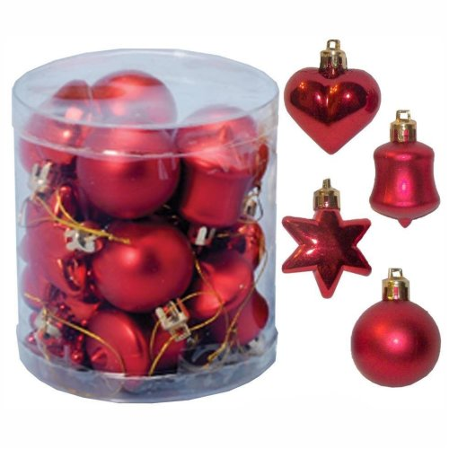 Christmas Tree Top Star 200mm Full Glitter Decoration Red