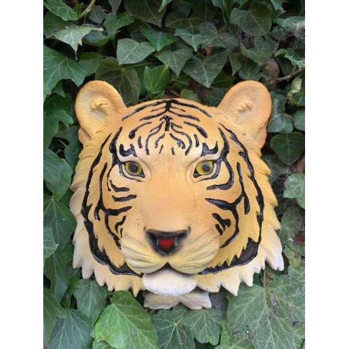 Orange Wall Mount Tiger Head Ornament Resin Hanging Sculpture Home