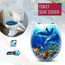 Aqua Dolphin Standard Toilet Bathroom Seat Cover Lid Oval Shaped