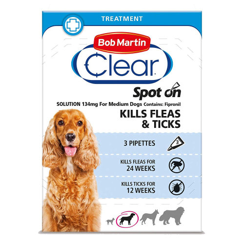 (Medium Dog, Single Pack (3 Tubes)) Bob Martin Clear Spot On Dog Flea & Tick Solution