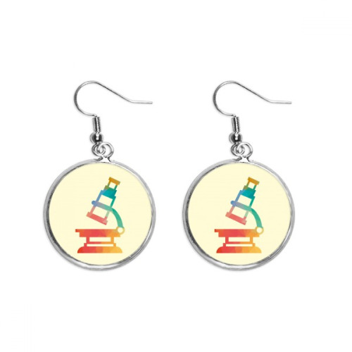 Cartoon Microscope Chemistry Pattern Ear Dangle Silver Drop Earring Jewelry Woman