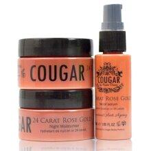 COUGAR 24 Carat Rose Gold Trio Set of Rose Gold Facial Cream, Facial Serum & Night Cream. Perfect Mother's Day Gift