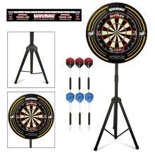 Darts Stand With Winmau Blade 5 Dartboard, Surround and Darts