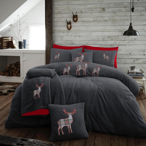(Single) Teddy Fleece Embroidered Stag Charcoal Duvet Cover Reversible Thermal Bedding Quilt Set