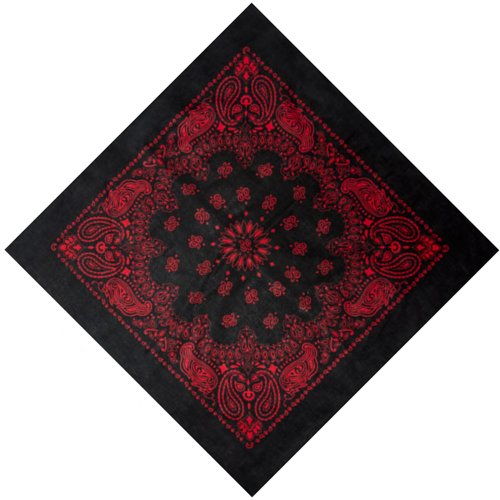 Extra Large XL Bandana Scarf Black Red Western Paisley 100% Cotton
