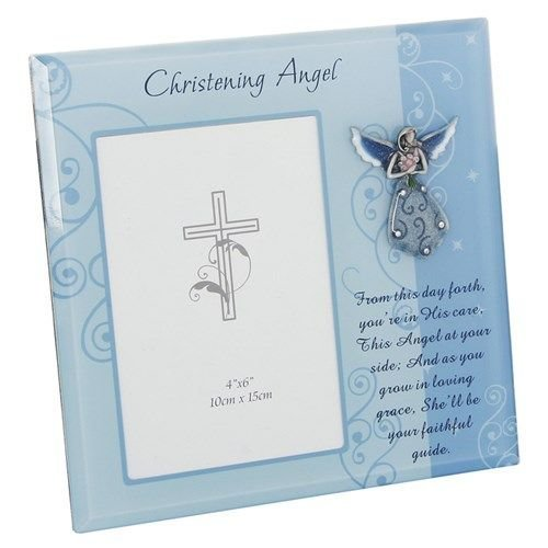 Christening Angel Photo Frame with Sentiment Blue Glass