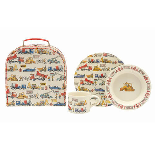 Emma Bridgewater - 3pc Dining Set In Suitcase - Melamine Plate/Cup/Bowl - Builders At Work