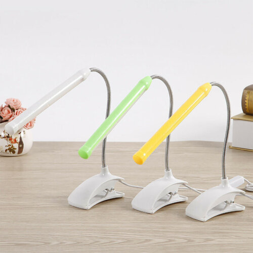 LED USB Flexible Neck Reading Light Clip-On Bed Desk Table Lamp Dimmable Mains